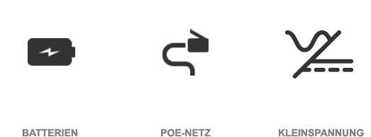 Symbole Stromversorgung PoE Kleinspannung Batterie