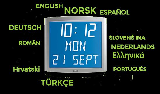 Für die Uhr Opalys Date sind mehrere Sprachen verfügbar