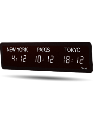 LED timezone Clock 3 cities white left v2