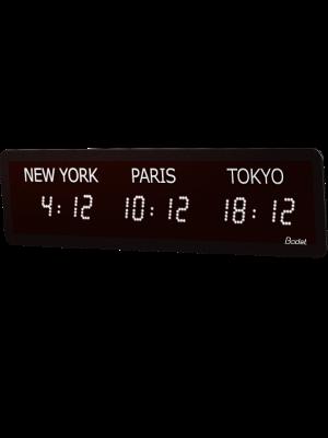 LED timezone Clock 3 cities white left v2
