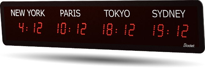LED timezone clock 4 cities red v2
