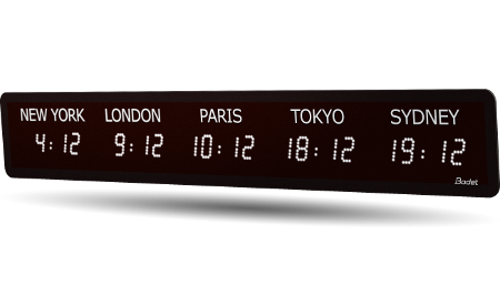 LED timezone clock 5 cities white v2