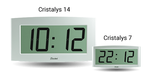 The large size of the Cristalys 14 clock makes it easy to read.