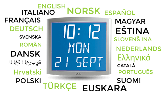 Several languages available for the Opalys Date clock