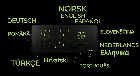 Multilingual led clock