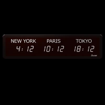 Horloge LED Style Mondiale 3 villes multifonction blanc