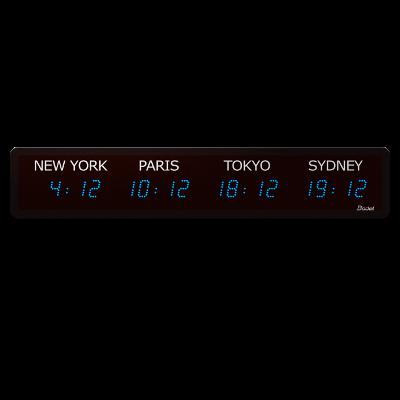 Horloge LED Style Mondiale 4 villes multifonction bleu