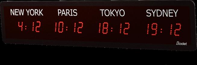 Horloge LED Style Mondiale 4 Villes Rouge V2
