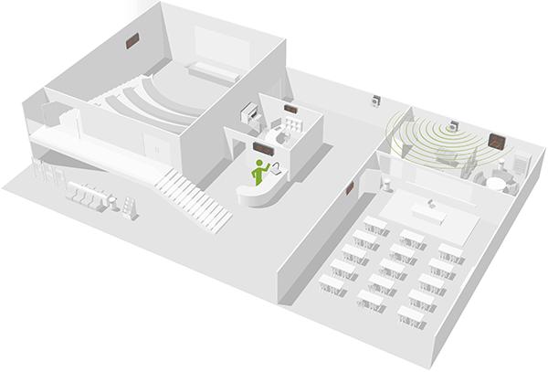 Le Microphone Harmonys Multizone, idéal pour les grands bâtiments