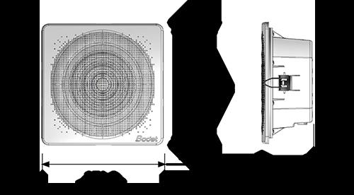 Dimensions du haut-parleur plafonnier Harmonys