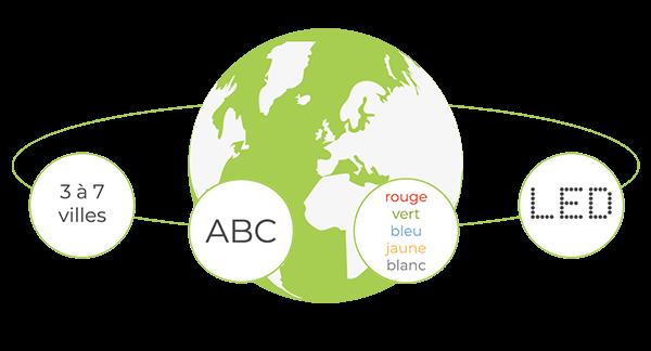 Horloge led style mondiale configurable