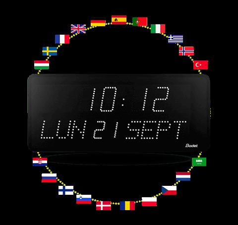 Horloge led Style 10 Date - affichage date en différentes langues